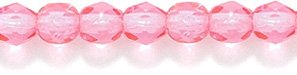 Preciosa Czech 4-mm Fire-Polished Glass Bead, Faceted Round, Dark Transparent Pink Coat, 200/pack