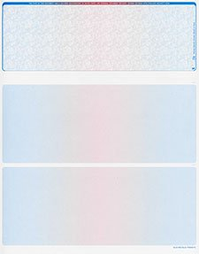 2500 Blank Security Check Paper Checks on Top (Prismatic Blue/Red/Blue)