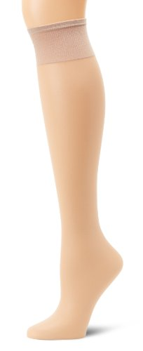 (Hanes Silk Reflections Women's Plus-Size 2 Pack Knee High, Nude, One Size)