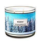 Bath and Body Works White Barn Winter 3 Wick Candle 14.5 Ounce Blue Tree Scene Label 2018 Collection
