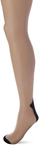 Leg Avenue Women's Sheer Two Tone Cuban Heel Stocking with Back Seam, Nude/Black, One Size
