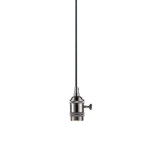 Globe Electric Danburite 1-Light Plug-In or Hardwire Pendant, Brushed Steel, Rotary On/Off Switch, 15ft Black Woven Fabric Cord - Hardwire Switch