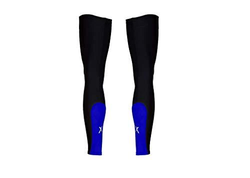 Sparx Super Roubaix Thermal Fleeced Breathable Cycling Leg Warmers Leg Sleeves (Small, Black/Blue)