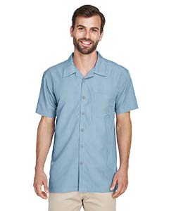 Harriton mens Barbados Textured Camp Shirt(M560)-CLOUD BLUE-L