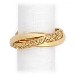 L'Objet 3-Ring Gold-Plated Napkin Rings with Swarovski Crystals, Set of 4