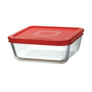 Pyrex 0 85l Square Food Storage Container With Red Lid