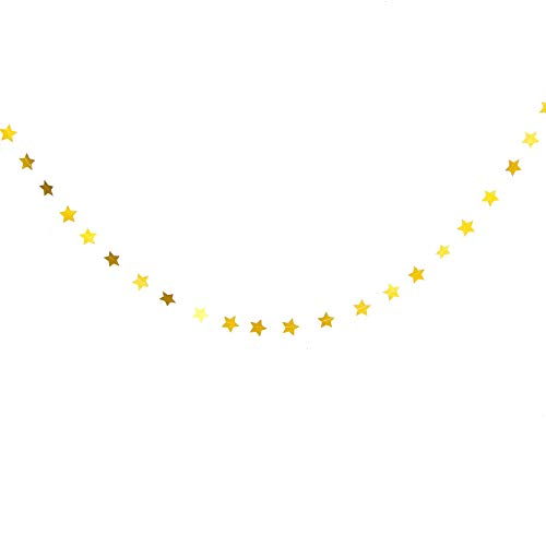 WSSROGY Glitter Gold Stars Charm Ornament Christmas New Year Graduation Party Decorations Birthday Party Garland, 79 inch of Each, 6 ()