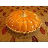 Deep Dish Ceramic Covered Pumpkin Pie Plate