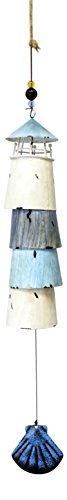 [Blue and White Lighthouse Bell Wind Chimes Painted Layered Metal] (Metal Lighthouse)