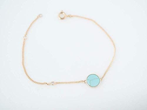 Dainty Simulated Turquoise Delicate Gold Plated Chain Bracelet
