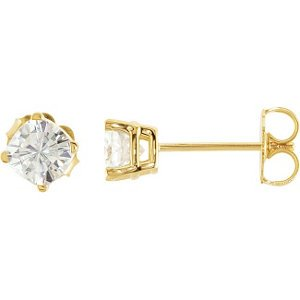 Charles and Clovard 14k Yellow Gold Antique Square Moissanite Solitaire Stud Earrings by The Men's Jewelry Store