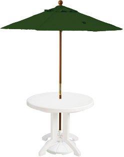 7ft Wooden Market Umbrella, Forest Green 7 Wooden Market Umbrella