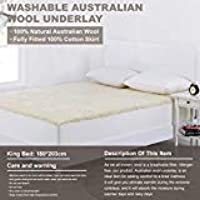 Washable Australian Wool Underlay Blanket - Jispu Bed Blankets Fully Fitted 100% Cotton Bed Skirt, The Ultimate Sleeping Luxury
