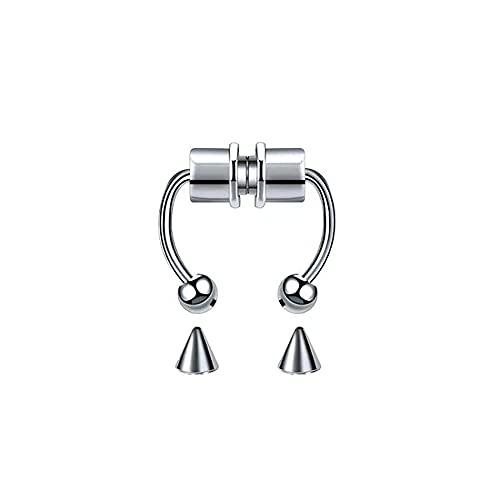 Wowsweet Magnetic Horseshoe Septum Stainless Steel Fake Hoop Non-Piercing Reusable Nose Rings for Men Women