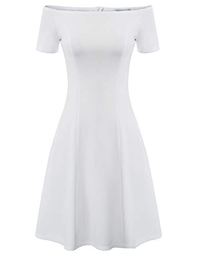 White Dress for Teens Night Fit and Flare Homecoming Wedding Dress Size M White (Off The Shoulder Fit And Flare Cocktail Dress)