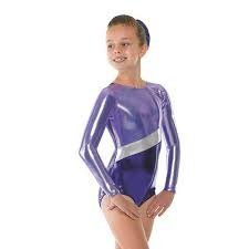 Girls Gymnastics Leotard Super Shiny Metallic with Silver Stripe (Purple, 11-12 years) by Tappers & Pointers by Tappers & Pointers