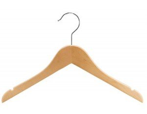 Wooden Junior Top Hanger, Natural Finish with Chrome Hardware, Box of 100 by The Great American Hanger Company by The Great American Hanger Company