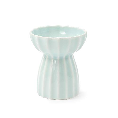 (Pet ceramic bowl, single bowl with bracket embossed pet cat bowl non-slip handmade design,Green)