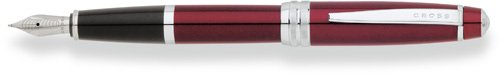 Cross Bailey Red Lacquer Fountain Pen with Stainless Steel Medium Nib