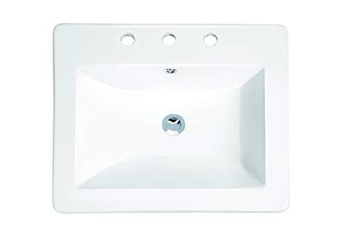 MSCBDP-2118-3W 21-1/4-in x 18-in White Rectangular Porcelain Drop-In Top Mount Bathroom Sink