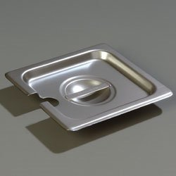 Carlisle DuraPan Steam Table Pan Cover, 1/6 size, slotted, solid, flat, lift-off, recessed handle, dishwasher safe, 24 gauge 18/8 stainless steel, 607160CS