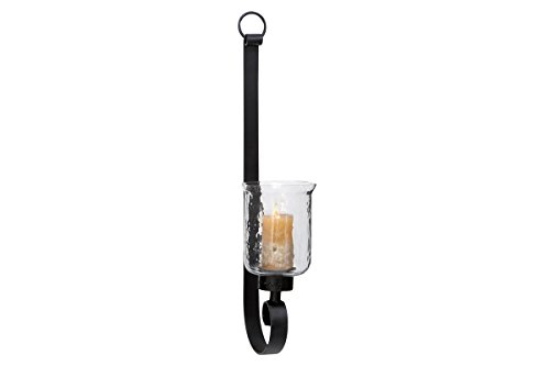 Deco 79 34565 Metal & Glass Wall Sconce Black Wrought Iron Sconce