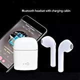 Cellular Innovations Wireless Headset - Bluetooth earbuds,Wireless Headset Cordless Sport Headphones with Portable Charger for Apple iphone 8, 8 plus, X, 7, 7 plus, 6s, 6S Plus (White)
