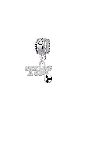 Silvertone Kick Like a Girl with Enamel Soccer Ball - I Love You Charm Bead - Kicker Starter