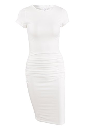 (Missufe Women's Ruched Casual Sundress Midi Bodycon Sheath Dress (Cream White, Small))