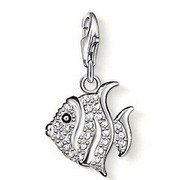 Glucky : European styleFashion white crystal Crystal watch bubble fish pendant charm (1.5x1.5cm) fit charm bracelet for women TSCH204