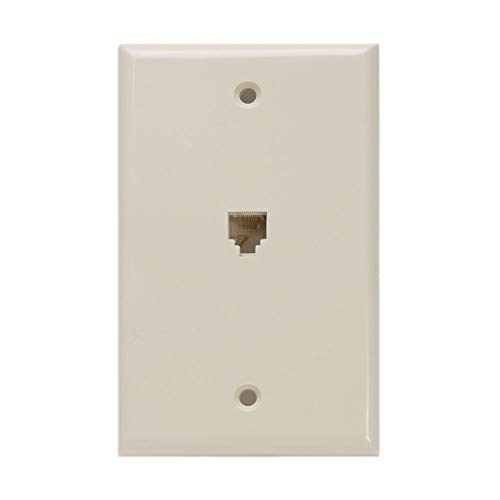 Leviton 40249-I Standard Telephone Wall Jack, 6P4C, Screw Terminals, Ivory