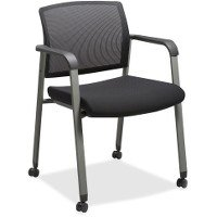 Lorell Mesh Back Guest Chairs with Casters - Fabric Black Seat - Square Base - 18.75