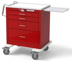 - MSEC by Waterloo, QUICK SHIP PROGRAM, Steel, 4 Drawer Short Steel Emergency Cart, Red