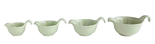 Oval With Spout & Handle Muted Sage 7.5 x 5 Stoneware Mixing Bowls, Set of 4