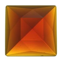 Stained Glass Jewels - 18mm Square Faceted - Dk Amber
