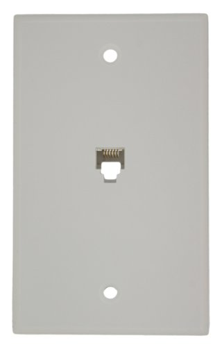 Leviton 40238-W Standard Telephone Wall Jack, 6P6C, Screw Terminals, White