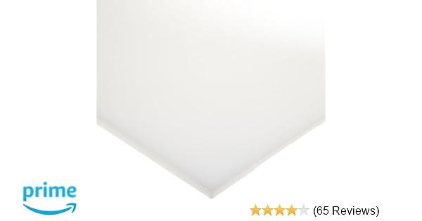 Sheet UL 94HB 48 Length HDPE High Density Polyethylene 24 Width 1//2 Thickness Opaque White Standard Tolerance