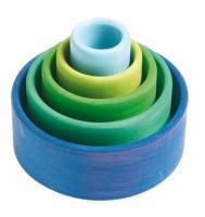 Grimm's Set of 5 Small Wooden Stacking & Nesting Rainbow Bowls, Ocean Blue