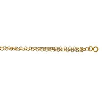 So Chic Bijoux © Bracelet Femme Longueur Réglable: 17,5 à 19,5 cm Double Chaîne 2 Cercles Entrelacés & Boule Plaqué Or 750