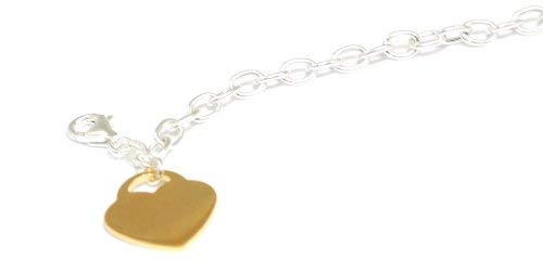 The Olivia Collection TOC Sterling Silver 7.5 T-Bar Bracelet with Goldtone Heart Charm