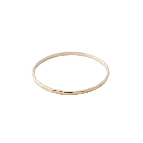 - HONEYCAT Super Skinny Hammered Stacking Ring in 14K Rose Gold, Size 8