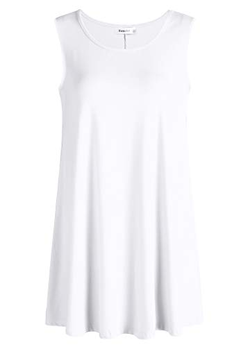 (Esenchel Women's Flowy Sleeveless Tunic Top for Leggings XL White)