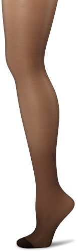 Hanes Women's Control Top Reinforced Toe Silk Reflections Panty Hose, Barely Black, C/D