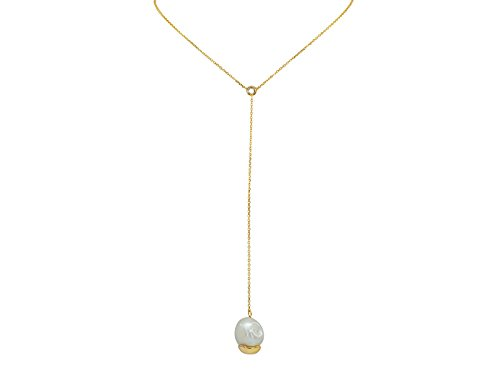 Fronay Co Dangling Gold Capped Freshwater Cultured Pearl Lariat Necklace in - Vermeil Lariat Necklace