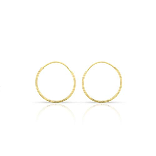 14k Yellow Gold Women's Endless Continuous Round Tube Hoop Earrings 1mm Thick 10mm - 20mm, Basic & Diamond-Cut (12mm Diamond-Cut)