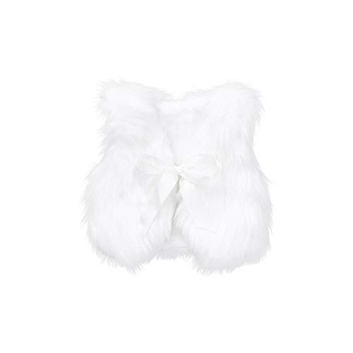 (Infant Baby Girl Faux Fur Bowknot Ribbon Waistcoat Thick Outwear Baby Plush Vest Clothes,0-4 Years (White, 12-18 Months))
