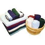 Hotel Oxford Bleach Guard- Bone Washcloths 12x12 100% Ringspun Cotton Terry w/ Dobby Borders /25 Dz