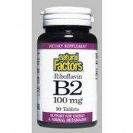 Natural Factors Vitamine B2 Riboflavine 100mg Tablets, 90-Count