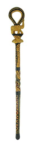 - Hand Carved Elephant and Wild Animal Print Wooden Walking Stick