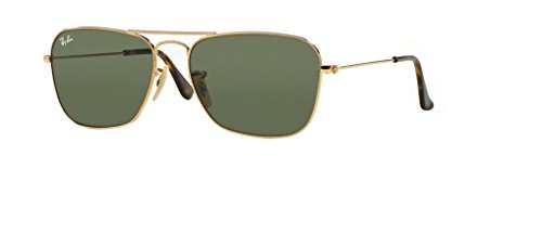 Ray Ban RB3136 CARAVAN 181 55M Gold/Dark Green Sunglasses For Men For Women